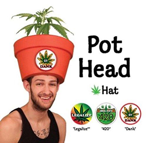 "LOL Lidz ""Pot Head"" Halloween Costume Hat w/Fake Marijuana Plant and Stickers (Large) Funny Novelty Headwear for Parties ()"