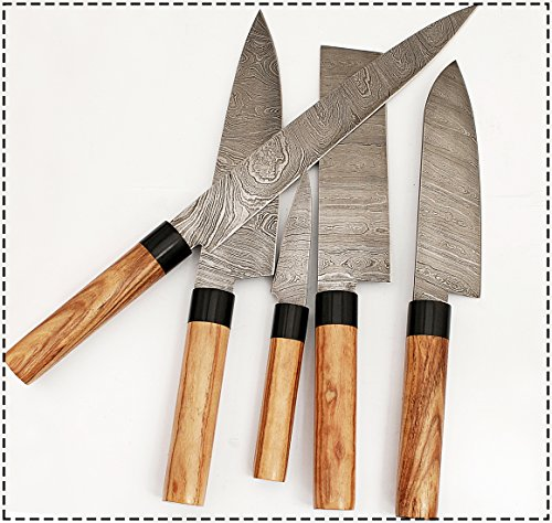 G15- 5 pcs Professional Kitchen Knives Custom Made Damascus Steel 5 pcs Professional Chef Kitchen Knife Set Round Wood Handle with 5 Pocket Case Chef Knife Roll Bag by GladiatorsGuild (Brown) by GladiatorsGuild (Image #2)