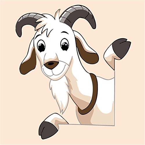 YEESAM ART New Paint by Numbers Kits for Kids, Diy Oil Painting - Cartoon Lovely Goat 20X20cm - Framed