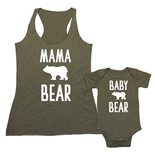 Vintage Tank Bib (We Match! Mama Bear/Baby Bear (Cute Bear) - Matching Triblend Women's Tank Top & Baby Bodysuit Set (3-6M Bodysuit, T-Shirt Large, Olive, White Print))
