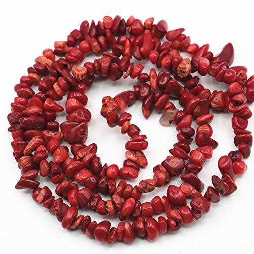 Bracelet Red Chip Coral (Calvas 5-7mm Freeform Chip Red Natural Stone Irregular Gravel Coral Loose Beads for Jewels Making DIY Necklace Bracelet Craft 80cm A408 - (Item Diameter: About 5-7mm))