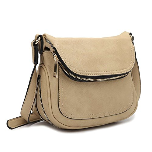 MKY Lightweight Women Leather Saddle Bag Shoulder Crossbody Bag Travel Purse (Saddle Flap Handbag)