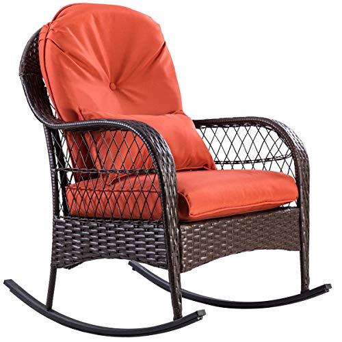 Shining Outdoor Wicker Rocking Chair Porch Deck Rocker Patio Furniture with Cushion