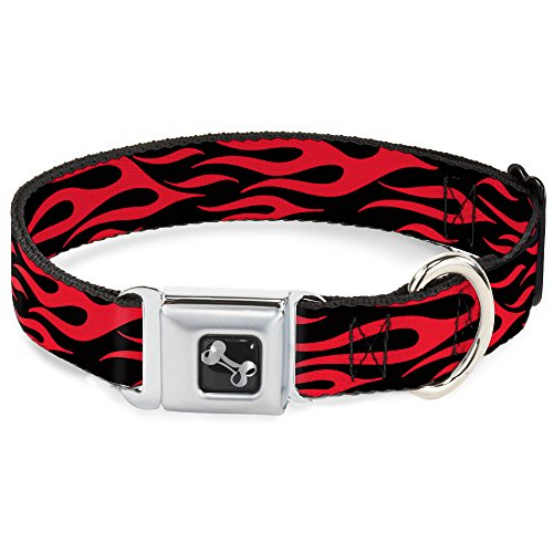 Buckle Seat Belt Flames - Buckle-Down Seatbelt Buckle Dog Collar - Flame Red - 1