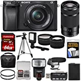 Sony Alpha A6300 4K Wi-Fi Digital Camera & 16-50mm & 55-210mm Lenses (Black) 64GB Card + Case + Flash + Video Light + Mic + Battery + Tripod + Kit