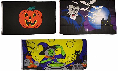 ALBATROS 3 ft x 5 ft Happy Halloween 3 Pack Flag Set #207 Combo Banner Grommets for Home and Parades, Official Party, All Weather Indoors Outdoors]()