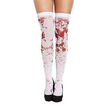YOSPOSS Calcetines Blancos para Disfraz de Halloween KZ9527-W147, Calcetines Altos - Medias de Sangre, Calcetines para Disfraz de Halloween, Zombie Ghost, ...