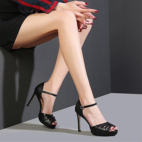Scarpe Estivi Cinturino Peep Con Da Per Caviglia Alti Alla Sandali Stiletto Nero Toe Nvxie Tacchi 35 Donna 45 Taglia 0zqWx5