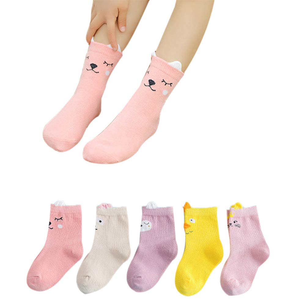 Kids Socks Cotton Children Boys Girls Short Socks Winter Autumn Print Kids Hosiery Students Socks 5 Pairs