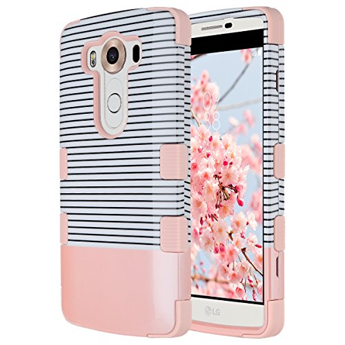 LG V10 Case, ULAK 3 in 1 Shield Shock Absorbing Case with Hybrid Cover Soft silicone + Hard PC Material Design for LG V10 (5.7' inch) 2015 Release (Minimal Rose Gold Stripes)