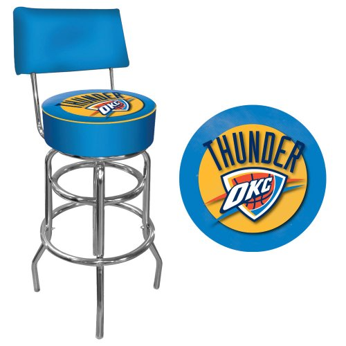 Trademark Gameroom NBA Oklahoma City Thunder Padded Swivel Bar Stool with Back