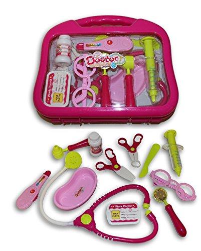 Pink Kids Doctor's Bag Nurse Medical Kit Playset for Kids Pretend Play