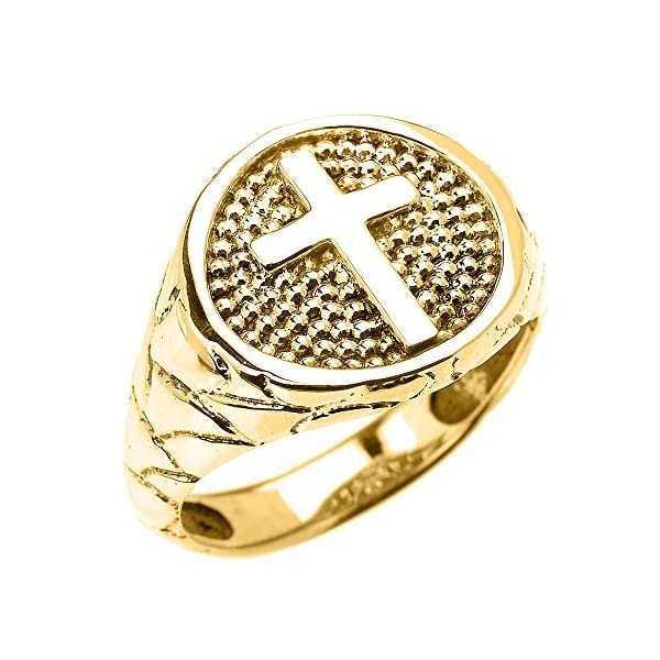 Mens-10k-Yellow-Gold-Textured-Christian-Religious-Cross-Band-Ring