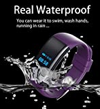 SMFR Bluetooth Smart Wristband Heart Rate Monitor Bracelet Band Wristband Waterproof Smart Watch For Android IOS Fitbit (Purple)