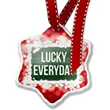 Christmas Ornament Lucky Everyday St. Patrick's Day Dark Green Stripes, red - Neonblond