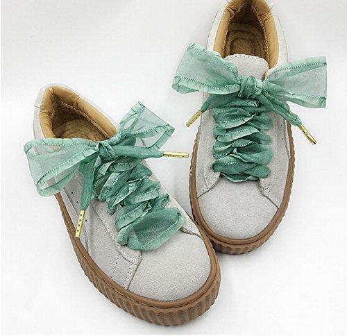 Set de 2 cordones de terciopelo cordones cordones de zapatos de moda 120 cm [Negro] multicolor 18