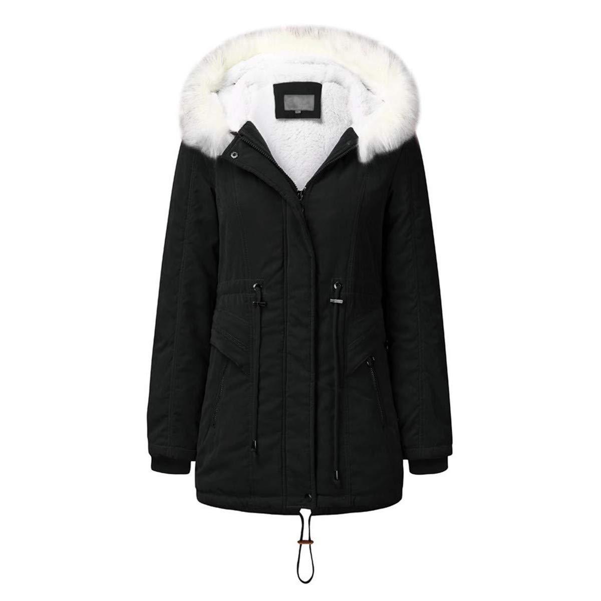 Thenxin Womens Winter Thicken Parka Jacket Warm Fleece Lined Hooded Drawstring Outwear(Black,XL) by Thenxin
