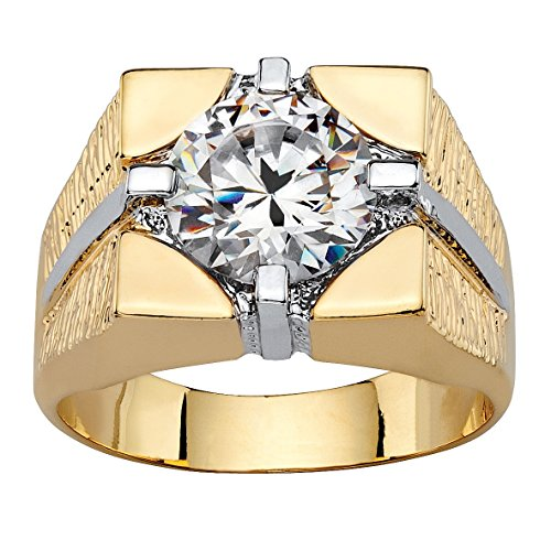 - Palm Beach Jewelry Men's Round White Cubic Zirconia 14k Gold-Plated Signet-Style Square Ring Size 13
