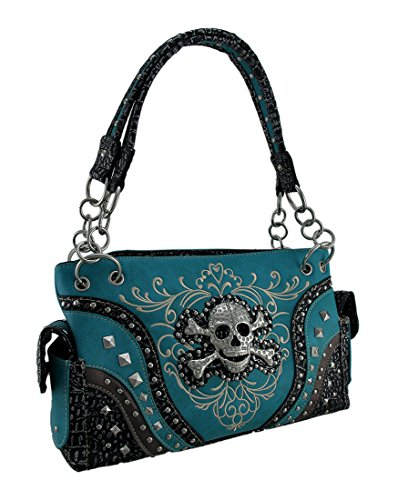 Embroidered Concealed Carry Rhinestone Skull Studded Purse ()