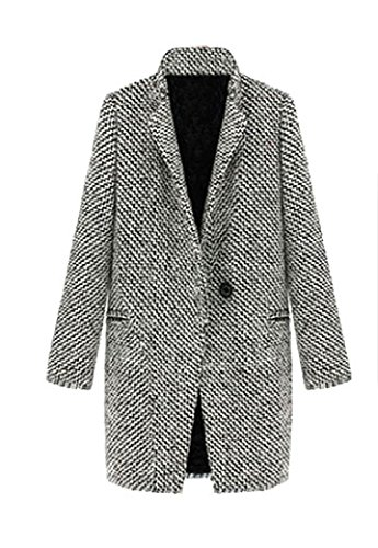 Coolred-Women Mid Long Fall Winter Oversize Houndstooth Maxi Trench Coat Jacket As Picture XL