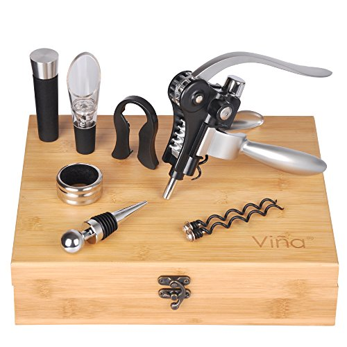 Action Wine - Rabbit Wine Corkscrew Opener Set, Wine Aerator Pourer, Vacuum Stopper, Foil Cutter, Drip Ring & 2 Teflon Spirals In A Elegant Bamboo Box, Best Gift for Wine Lover by Vina, 8 Pieces