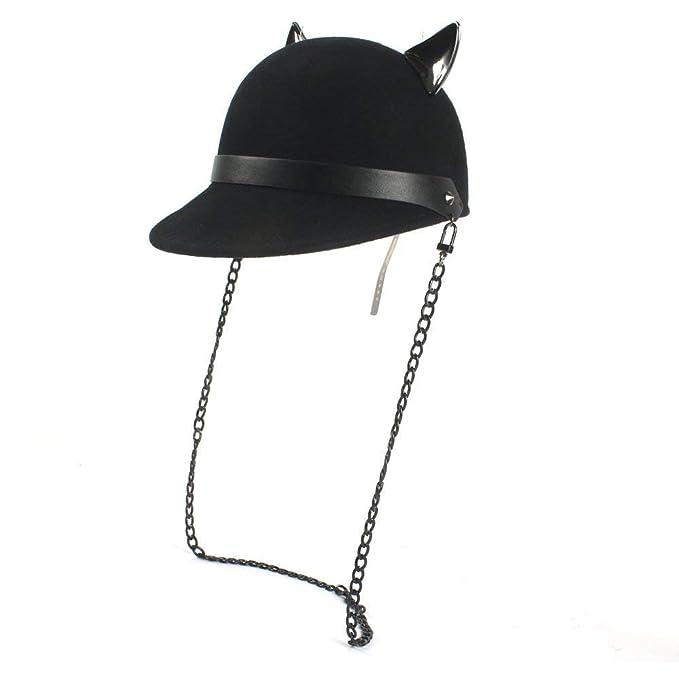 Elodiey Sombrero Del Jinete De La Tejida Sombrero Gorrita Negro Gorro Con Diablo  Años 20 Gato e72e4166558