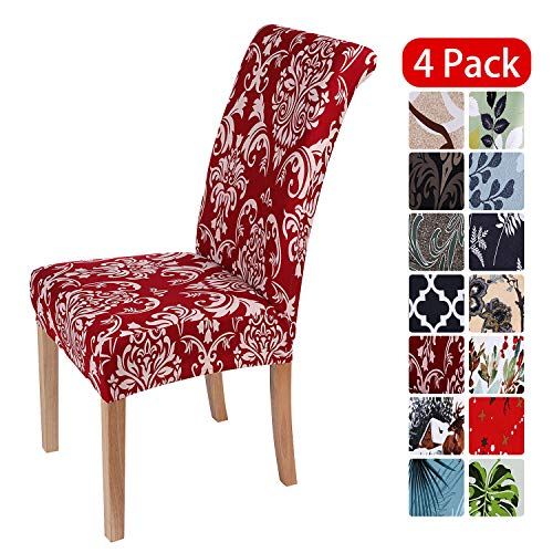 smiry Stretch Printed Dining Chair Covers, Spandex Removable Washable Dining Chair Protector Slipcovers for Home, Kitchen, Party, Restaurant - Set of 4, Red