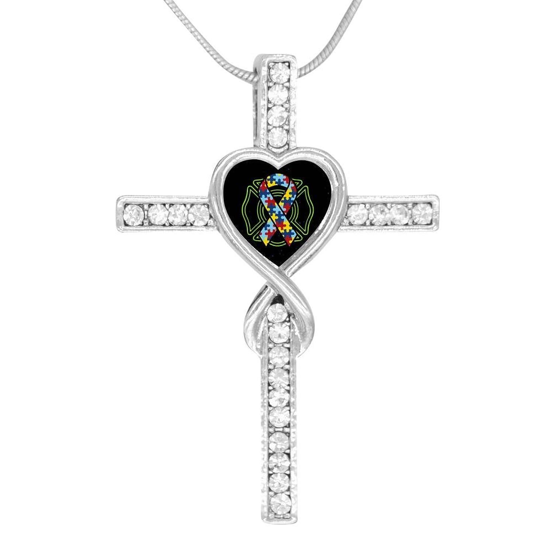 BlingDi Fashion Ribbon Autism Awareness Fire Department Design Heart Shaped Cross Necklace