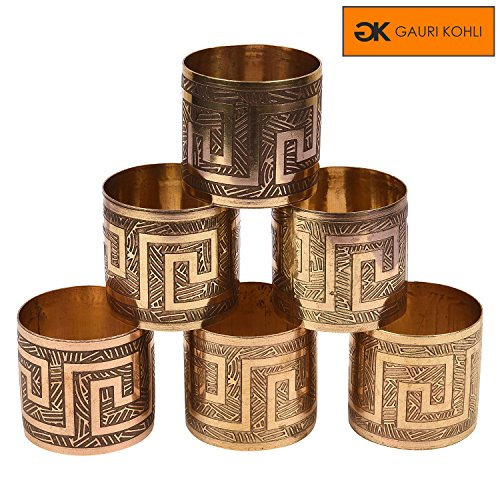 GAURI KOHLI Embossed Metal Napkin Rings in Antique Finish Set of 6