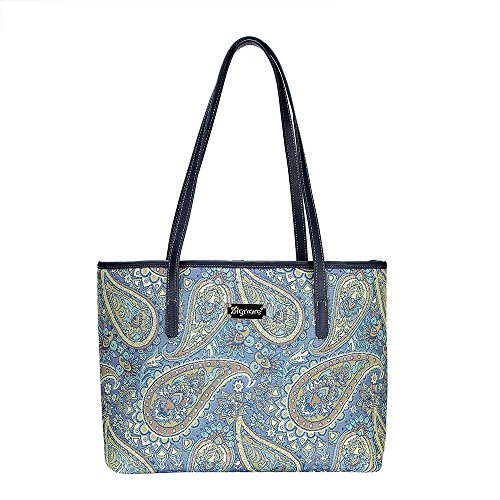 Paisley in Paradise Blue Shoulder Tote Bag by Signare/Floral Branded Tapestry Evening Side/COLL-PAIS