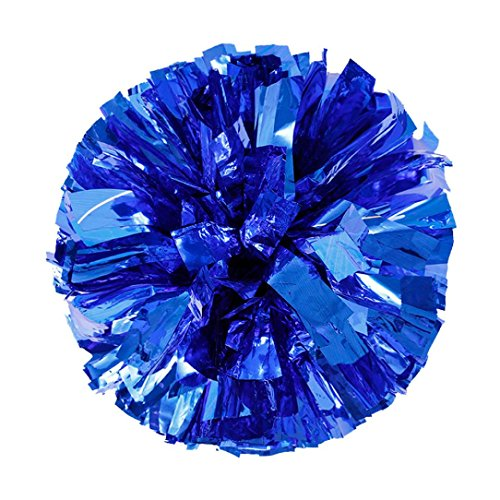 Price comparison product image Botrong Metallic Foil and Plastic Ring Handheld Pom Poms Cheerleading Party Decor (Blue)