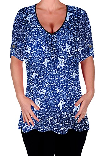 col chemisiers dames Size Dcontracte Imprim Aspen Chemisier V Eyecatch en longue Femmes Flared Plus Tunique Bleu Royal OX1q4xnw