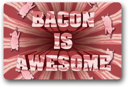 Funny Pig Bacon, Bacon Is Awesome Pattern Non-Slip Indoor or Outdoor Door Mat Doormat Home Decor Rectangle – 23.6 L x 15.7 W , 3 16 Thickness