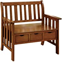 Furniture of America Peyton Accent Bench with 3-Drawers, Oak