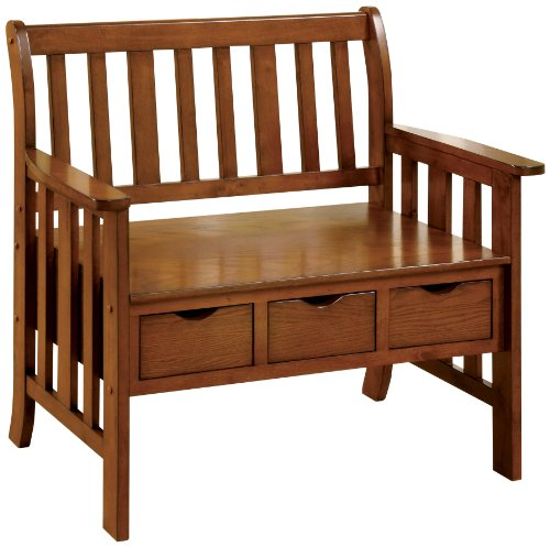 Back Slat Bench (Furniture of America Peyton Accent Bench with 3-Drawers, Oak)
