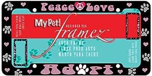 Chroma 42505 My Pet - 'Peace/Love/Adopt' License Plate Frame