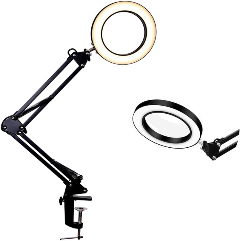 USB Magnifying Glass LED Desk Lamp-3 Colors Illuminated,9 Levels Dimmable,Foldable Metal Arms and Adjustable Clamp Base,5X Magnification Table Lamp Clamp for Office/Work/Study (Black)