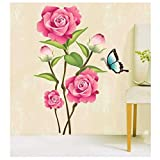 Pink Rose Flowers Butterfly Removable Decal 713. Wall Sticker Mural DIY Art Living Room