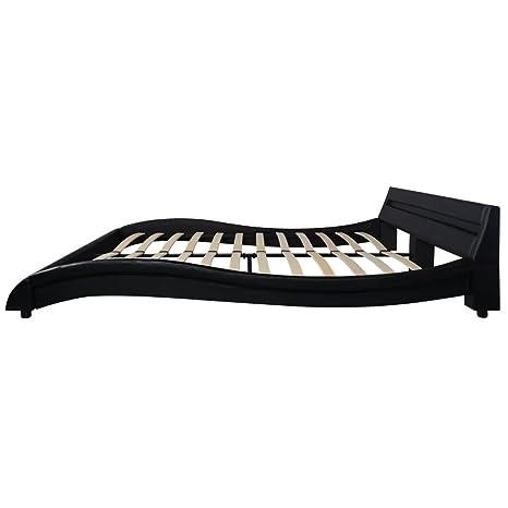 vidaXL Estructura de Cama con LED 140x200 cm Tapizado de Cuero Artificial Negro: Amazon.es: Hogar