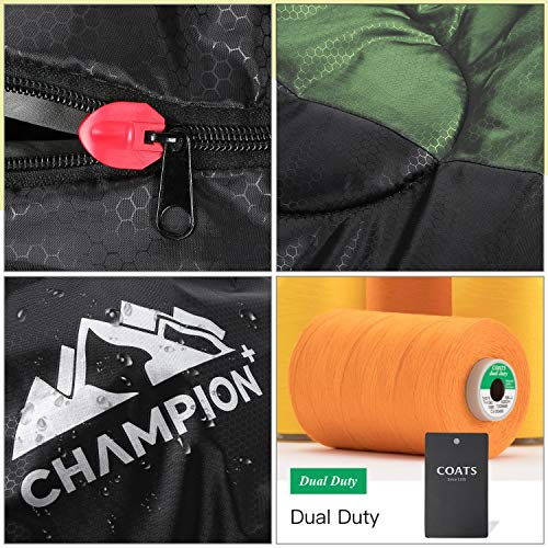ChampionPlus Sleeping Bag for Adults & Kids, Boys and Girls - 3 Season Warm & Cool Weather - Summer, Spring, Fall, Compact Sleeping Bags Lightweight,Camping/Hiking/Backpacking, Green