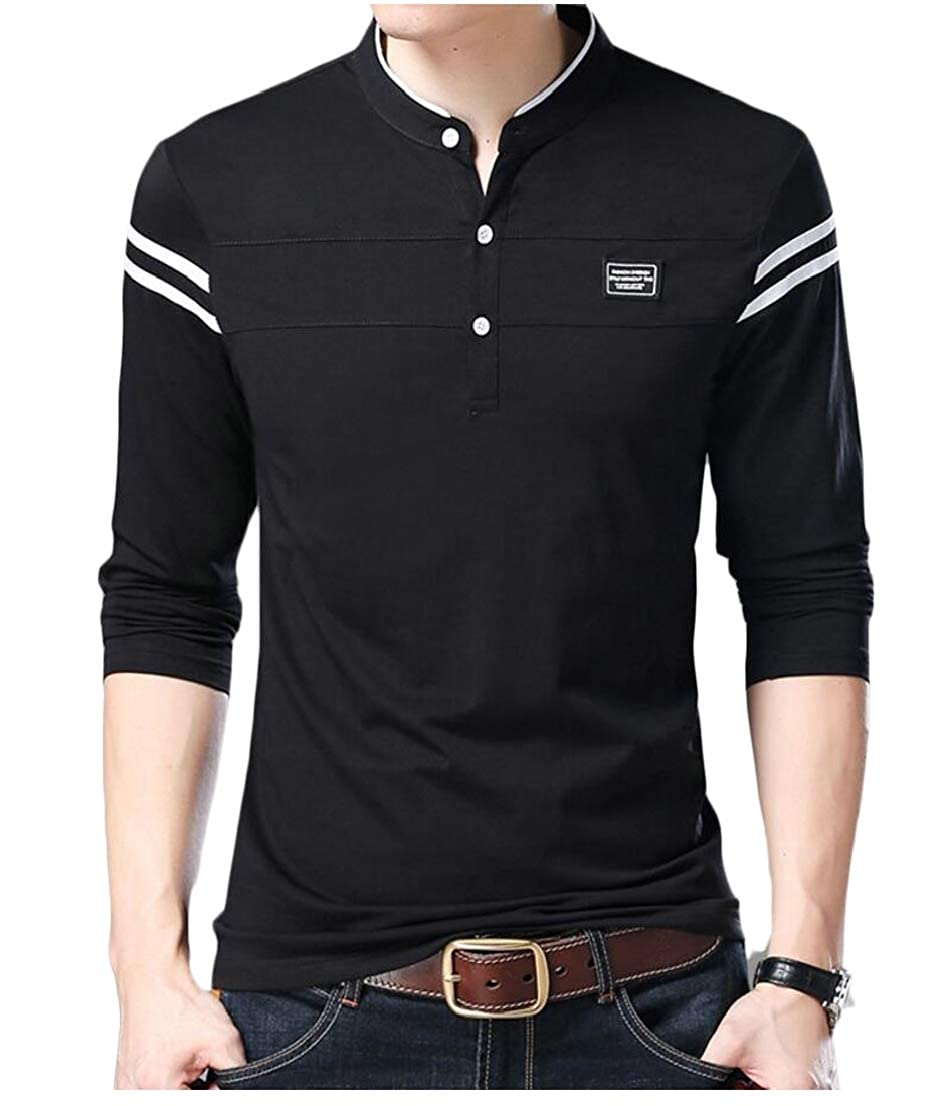 Generic Mens Classic Slim Fit Polo Shirt Stand Collar Long Sleeve Pullover T-Shirt
