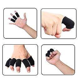10pcs Summer Sport Elastic Arthritis Trigger Finger Sleeves Braces Knuckle Compression Protector Prevent Calluses (Black)