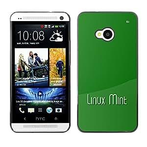 KLONGSHOP // Cubierta de piel con cierre a presión Shell trasero duro de goma Protección Caso - Linux Mint - HTC One M7 //