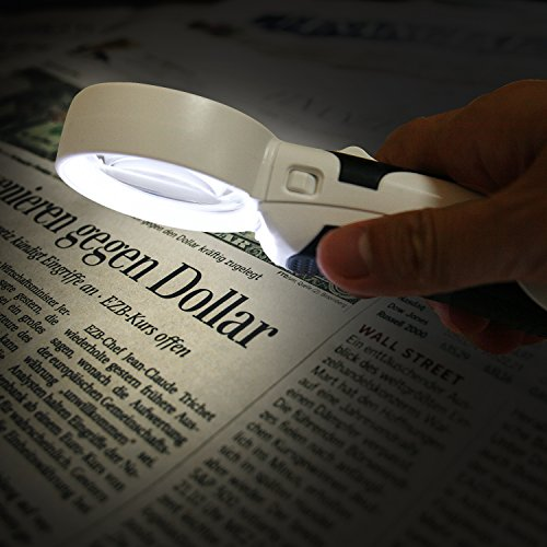 Magnifying Glass with Bright LED Lights 10X 5X Illuminated 2 Lens Set,Portable Handheld Magnifier Optical Lenses for Reading,Macular Degeneration,Practical Gift for Parents and Elders