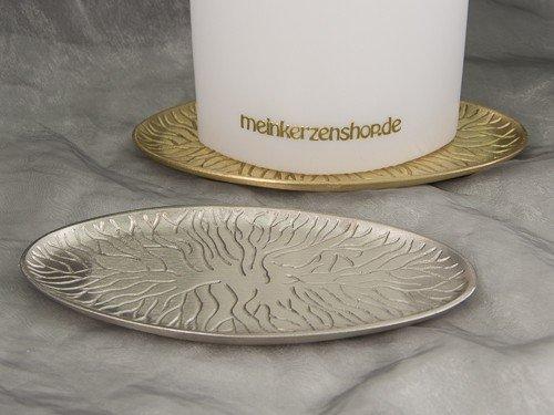 Kerzenteller Kerzenständer Kerzenhalter Hochzeitskerze Taufkerze silber gold 16870, Farbe:gold
