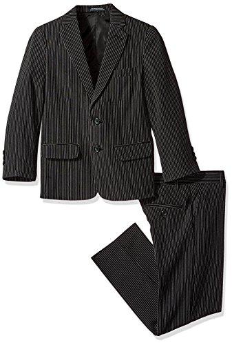 Van Heusen Big Boys' Stripe 2 Pc Suit, Black, 18 by Van Heusen