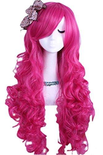 Enilecor Long Curly Wavy Hot Pink Custom Party Wigs(RW148) (Hot Cosplay Women)