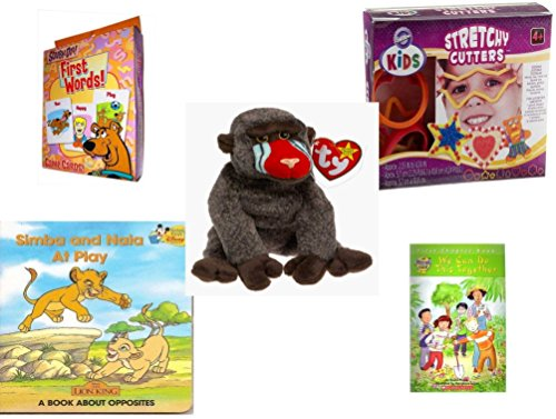 Children's Gift Bundle - Ages 3-5 [5 Piece] - Scooby-Doo. First Words Card Game - Wilton Kids Stretchy Silicone Cookie Cutter Set, 10-Piece - Ty Beanie Baby - Cheeks the (Scooby Doo 3 Piece)