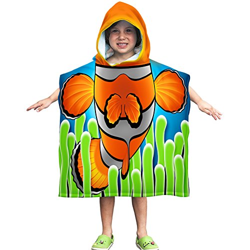 Direct Hooded Pullover - Kids Clownfish Cotton Hooded Poncho Bath/Beach Towel