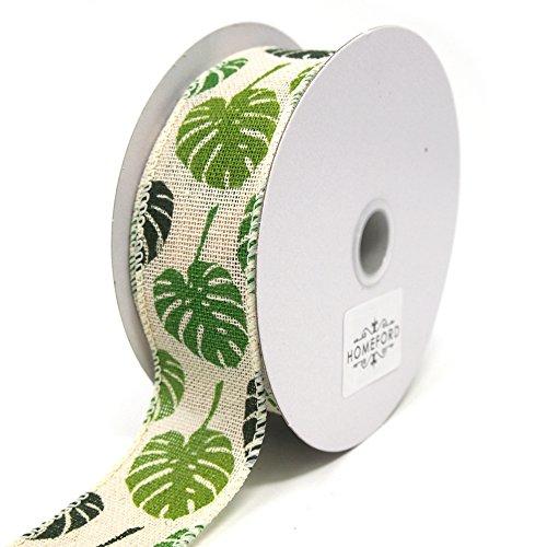 - Homeford Green Monstera Leaves Print Ivory Canvas Ribbon, 10 Yards (1-1/2-Inch)